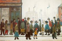 Waiting for the Shops to Open Art Print by L S Lowry at King & McGaw