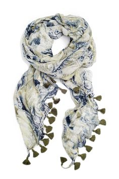 Tiny tassels add charm to this paisley scarf.