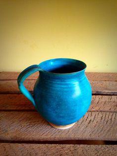 Pottery ceramic mug Caribbean  blue