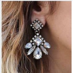 Diamond Shaped Crystal Earrings Faux gold tones plating - glass stones - Post and clasp fastening - NWOT  - Comes with dust bag. - Pictures 2&3 are of actual item, pic 1&4 are from Pinterest.  Discounts with bundles. Thanks! Jewelry Earrings