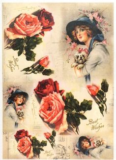 Rice Paper for Decoupage Decopatch Scrapbook Craft Sheet Vintage Lady and Roses