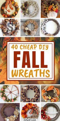 Easy Fall Wreaths, Diy Fall Wreath, Wreath Crafts, Fall Diy, Yarn Wreaths, Ribbon Wreaths, Tulle Wreath, Winter Wreaths, Floral Wreaths