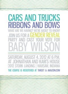 Trucks and Bows Gender Reveal Party Invitation by HalfPintPrints, $15.00...darling colors and design