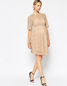 d472d867ef17c ASOS Maternity | ASOS Maternity Premium Lace Skater Dress With Angel  Sleeves at ASOS Asos Maternity