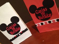 Mickey Mouse Favor bags by RaeofSunshinedesign on Etsy, $13.50