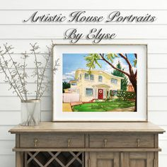 Watercolor Painting Of Home House Portrait From Photo First Anniversary New Gift For Mom Warming