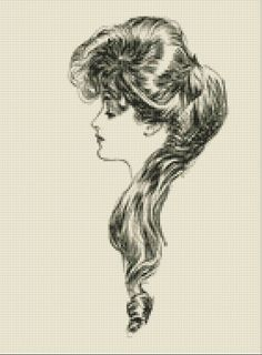Gibson Girl 2 Cross Stitch Pattern, Counted Cross Stitch Chart, Charles Gibson, Instant PDF Digital Download