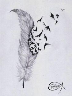 Feather & birds tattoo <3 by caroline.c