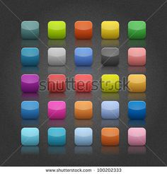 Look more my images http://www.shutterstock.com/gallery-498844.html — 25 popular color blank web app internet application button. Striped rounded square shape with black shadow on gray backgrounds with noise texture effect. Vector 10 eps — #Royalty #free #stock #photo #illustration for $0.28 per download http://submit.shutterstock.com/?ref=498844