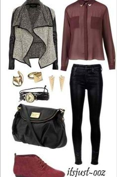 burgundy bolouse, grey/black sweater, black skinnies First Date Outfits, Fall Winter Outfits, Autumn Winter Fashion, Fall Fashion, Fashion Shoes, Black Skinnies, Black Pants, Fall Trends, Pointed Flats