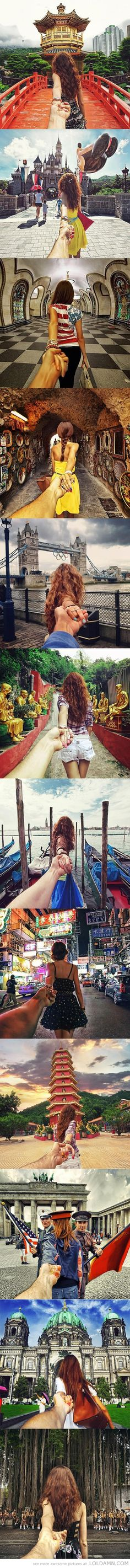 Photographers girlfriend leads him around the world. Love this!!