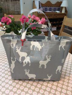 Stag bag - Grey bag - White bag - Oilcloth bag - Shopping bag - Market bag - Deer bag - Tote - Christmas Gift - Seasonal Gift -  Bag by TheCosyCanineCompany on Etsy