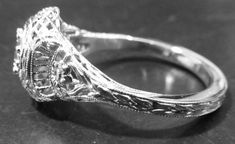 Antique Engagement Ring, Side View Showing Restored Hand Engraving Antique Engagement Rings, Antique Rings, Vintage Rings, Ring Ring, Hand Engraving, Crystals, Diamond, Antiques, Side View