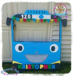 Tayo the little bus Selfie frame 2nd Birthday Boys, 1st Birthday Party Themes, Baby Birthday Cakes, Birthday Frames, Diy Party Themes, Party Themes For Boys, Bus Cake, Tayo The Little Bus, Car Themed Parties