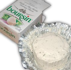 Boursin creamy cheese with garlic and herbs. Nice spread on crackers, spread on toast and put under the grill to melt, nice spread on crusty bread and I've heard it's good in jacket potatoes (but I haven't tried it like that!)