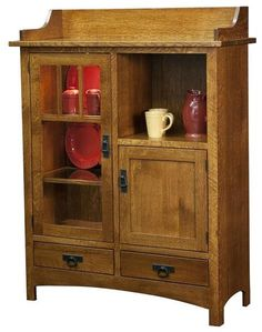 Amish Dining Storage Hutch Cabinet This cabinet will get lots of attention. Cozy and cut to perform wherever you need attractive wood storage. The glass door can be positioned on the right or left side, depending on your preference. Interior lighting adds to the effect. #cabinet #diningstorage #kitchenstorage #hutch #potterycabinet