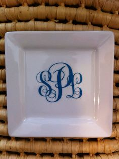 Small square Monogram Jewelry Dish, customized gifts, ring dish, wife to be gifts on Etsy, $16.00