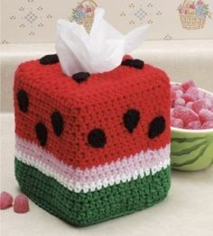 Watermelon Tissue BOx Cover free crochet pattern - 10 Free Crochet TIssue Box…