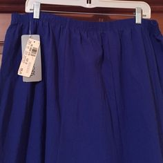 Royal blue skirt with elastic waist Royal blue skirt with elastic waist,  size 22W, polyester. Never worn. Flare skirt, great for summer. Measures 31 inches in length. Regal Skirts A-Line or Full