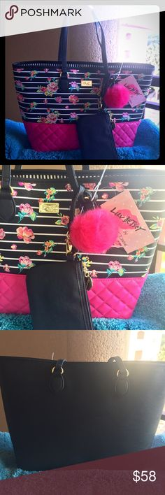 """Betsey Johnson Pink & Black Floral Quilted Tote NWT Betsey Johnson Pink & Black Floral Quilted Tote 9""""L double handles Magnetic snap closure removable envelope pouch with top zip closure Interior features 1 zip pocket, 3 slip pen pockets and one zipper compartment Large size handbag: 13"""" W x 11"""" H x 6"""" D Betsey Johnson Bags Totes"""