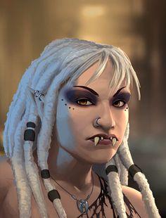 shadowrun; female; ork; white-haired