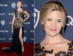 Maggie Grace In Mac Duggal – InStyle and Warner Brothers Golden Globes Awards Party