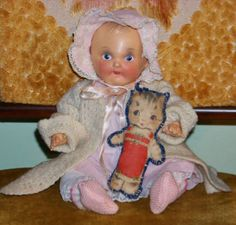 RARE Antique Vintage Sunruco SUNBABE Sun Rubber Co. jointed doll 1947 - 1949 tlc