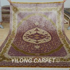 Yilong 6'x9' Persian Silk Rugs Hand Knotted Modern Style Carpets Handmade 0275