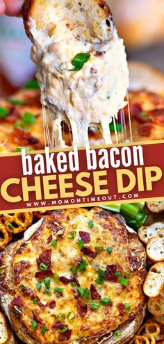 Say hello to the ULTIMATE party food you will be enjoying all fall season long! Baked Bacon Cheese Dip is easy to pull together and makes serving a breeze. Loaded with bacon and 5 different types of cheese, this appetizer is perfect for game day! Pin this for later! Bacon Cheese Dips, Cheese Dip Recipes, Bacon Dip, Appetizer Dips, Appetizer Recipes, Country Cook, Bread Bowls, Food Is Fuel, Game Day Food