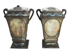 Hey, I found this really awesome Etsy listing at https://www.etsy.com/listing/198654306/rare-gorgeous-pair-antique-tin-vases-tea