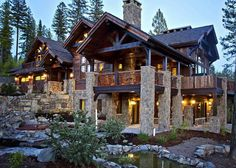 Sugar Bowl Residence timber frame and stone house at the Iron Horse Golf Club in Whitefish, Montana (Frontier Builders) Log Cabin Homes, Log Cabins, Mountain Homes, Cabins And Cottages, Cabins In The Woods, House Goals, Cabana, My Dream Home, Future House