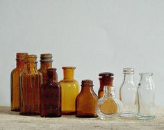 Retro amber pharmacy bottles - vintage set of 10small bottles, instant collection, small brown glss storage bottles