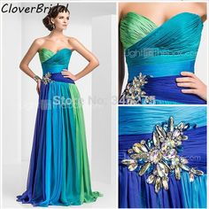 Quality In Stock Ready To Ship New Rhinestones Multi-colored Chiffon Floor Length Cheap Vestido De Festa Longo Size with free worldwide shipping on AliExpress Mobile Chiffon Evening Dresses, Cheap Evening Dresses, Elegant Dresses, Pretty Dresses, Evening Gowns, Strapless Dress Formal, Beautiful Dresses, Gorgeous Dress, Bridesmaid Dresses