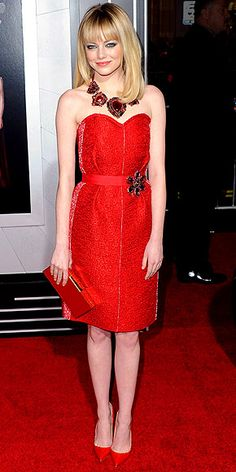 Is Emma Stone's head-to-toe red look too matchy or just right?