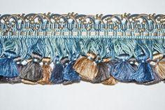 5 yds Samuel & Sons Le Musee Silk Tassel Fringe Designer Trim Blue/Sepia