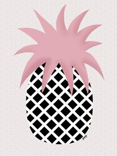 Illustration by Margo Dumin  www.margodumin.com  pink, black, grey, pineapple,retro, vintage, illustration, draw, drawings, poster