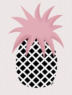 Illustration by Margo Dumin www.margodumin.com pink, black, grey, pineapple,retro, vintage, illustration, draw, drawings, poster