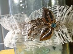 vintage jewelry + point d'esprit tulle garter + something blue + something old + vintage bridal garter + spring wedding + wedding accessories + $22 on esty