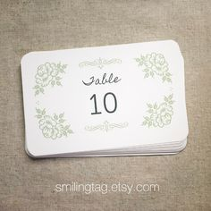 Vintage Inspired Wedding Table Number Cards  Table by SmilingTag, $12.50