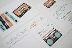 Mix Tape Music Wedding Invitation Suite of 4 Printable via Etsy Music Wedding Invitations, Wedding Songs, Wedding Invitation Suite, Party Invitations, Fair Theme, Music Themed Parties, Festival Wedding, Marry You, Diy Projects To Try