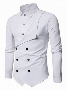 Men Shirt Brand Personality Double-breasted Fake Two Shirt Formal Solid Color Slim Fit Cotton Long Sleeve Dress Shirts Camisa Slim Fit Dress Shirts, Slim Fit Dresses, Fitted Dress Shirts, Long Sleeve Cotton Dress, Long Sleeve Shirt Dress, Long Sleeve Shirts, Indian Men Fashion, Twin Set, Spring Shirts