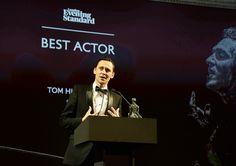 Tom Hiddleston accepts the Best Actor award for 'Coriolanus' at the 60th London Evening Standard Theatre Awards at the London Palladium on November 30, 2014. Via Torrilla on Tumblr.