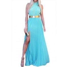Women's Vestido Pleated Hem Slit Side Design Off The Shoulder Sleeveless Dress S | Linio Colombia