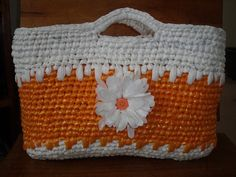 crocheted plarn ('yarn' made from plastic bags) tote bag by adele frances, via Flickr