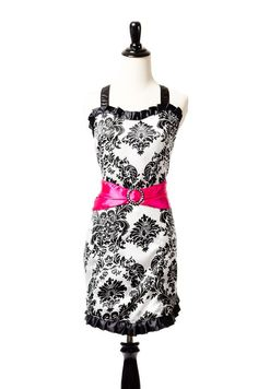 Belle Damask Apron by Simply Savvy Aprons with Pink Sash