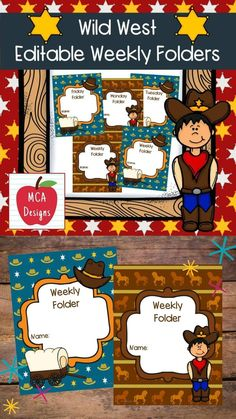 This colorful set of Weekly Folders are part of my Wild West Classroom Decor collection. I have included an editable file to help you personalize this product to suit your needs. My Wild West Weekly Folders are accented with bright colors and western graphics :) This set includes: 2 styles of folders Folders are labeled as Weekly Folder, Friday Folder, Monday Folder, and Tuesday Folder Editable folders - Allows you to personalize to suit your needs! #teacherspayteachers #tpt Classroom Board, Classroom Supplies, Classroom Decor, Friday Folders, Folder Design, My Teacher, Wild West, Classroom Management, Bright Colors