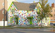 """Polka Dot House"" in Grand Forks, North Dakota - photo by Steve Augustin Polka Dot Art, Polka Dots, Interior Exterior, Exterior Paint, Happy Magic, Happy Art, House Construction Plan, Mural Wall Art, Funky Furniture"