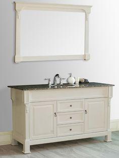 Galaxy 60 inch Single Sink Vanity Cream Finish Baltic Brown Granite Countertop