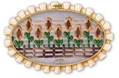 Girasoles: Guarda calada con cintas de seda de 3 y 5 mm