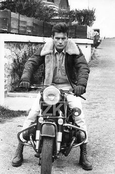 Delon on a motorcycle